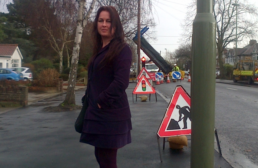 Denise and road works