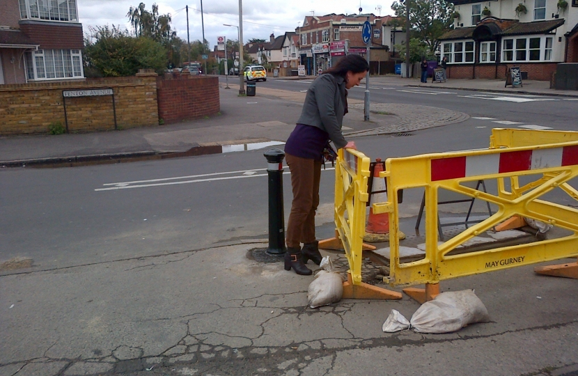 Denise inspecting road works on Fenton Avenue