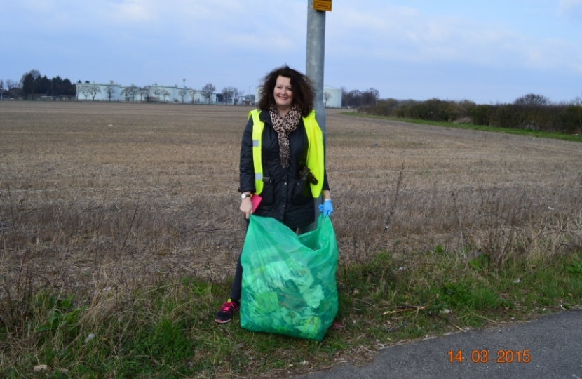 Litter picking on the A30